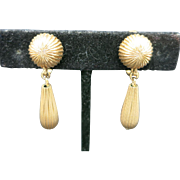 Dangle clip on earrings gold tone metal Tradition