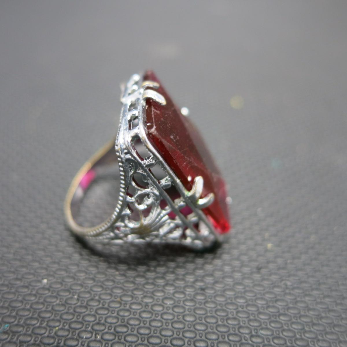 Red Glass Stone : Filigree ring large red glass stone art deco from