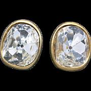 Rhinestone earrings Kenneth Lane Clip on Huge Stones