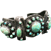 Cluster bracelet Handmade Turquoise Navajo Sterling silver
