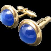 Blue Krementz cufflinks Gold Plated Lucite