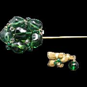 Miriam Haskell Stick Pin Emerald green glass Flower