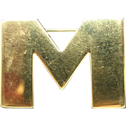 Monet PIN Letter M Gold tone Block
