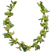 Italian Glass Bead necklace Yellow and green Flowers Leaves