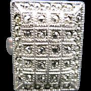 Sterling Marcasite ring Art Deco Theda adjustable