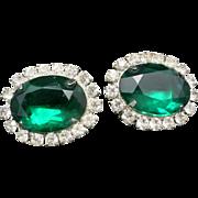 Rhinestone earrings Large GREEN Clip on's