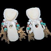 Chipita Joan Eagle earrings COW BONE Beads Clip ON