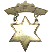 Jewish Pin CPZ Committee for Progressive Zionism Rocker engraving