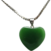 Jade Heart Sterling silver chain vintage eighties