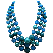 Blue BEAD necklace three strands earrings clip on