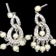Monet earrings Fake Pearls Dangle PIERCED Bride Bridal
