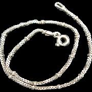 Ankle Bracelet Sterling silver Box links