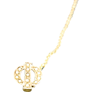 Fraternal pin Seed pearls gold filled Greek letter PHI