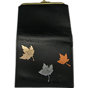 Kiss clasp Wallet Buxton Black Leather Autumn Leaves