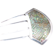 Mantilla comb Sterling silver Abalone shell large hand made