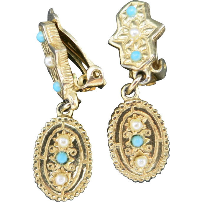 clip on earrings gold tone metal pearl turquoise