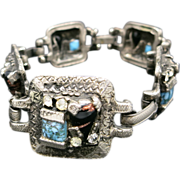 Selro selini Link Bracelet Pewter tone variety of glass stones UNMARKED