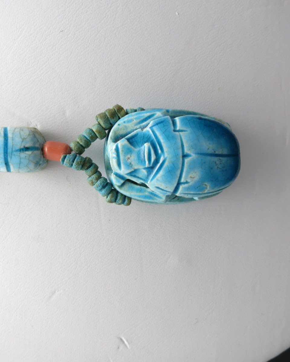 Scarab necklace egyptian glazed pottery beads turquoise for Faience turquoise