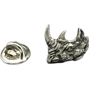 Rhino Tie Tack Rhinoceros Head Pin Pewter tone metal