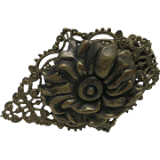 Floral Dress clip Brass toned Metal Rose