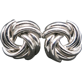 Knot earrings 18 Karat White GOLD Vintage traditional