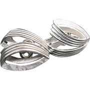Trifari earrings silver tone clip style Vintage Sixties COOL