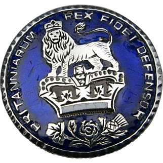 Georgian coin PIN Enameled Silver 1826 Lion crown