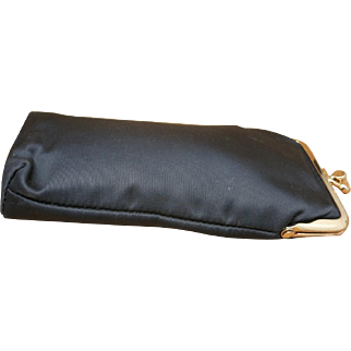 Vintage eyeglass case Black satin Anne Klein Seventies