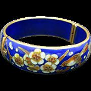 Chinese Enameled Bangle Vintage Cloisonne Cobalt Blue