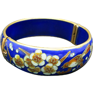 Chinese Enameled Bangle Vintage Cloisonne Cobalt Blue