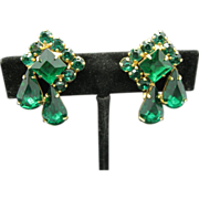 Green Rhinestone Earrings Variety of Shaped Screw On Findings