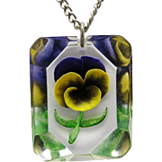 Pansy Pendant reverse carved Lucite Silver tone metal chain