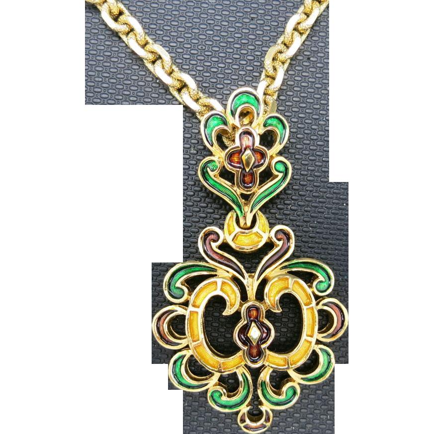 trifari l orient necklace gold tone metal pendant enamel