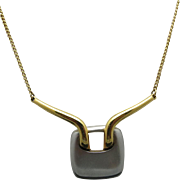 trifari necklace Modern sixties pendant silver and gold tone