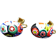 Italian Millefiore glass Earrings multi color clip on