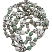 Czech bead necklace Scarabs Pressed glass strand