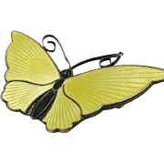 Butterfly pin David Andersen Yellow Black enamel sterling silver