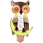 Owl Pin Enamel Colorful Seated on a crescent moon
