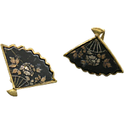 Fan Earrings Japanese Damascene screw on Inlay