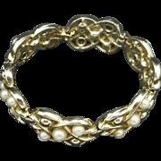Coro Bracelet Fake Pearls Gold tone metal Links