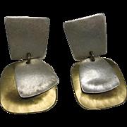 Mixed Metal Marjorie Baer earrings Clip on Geometric