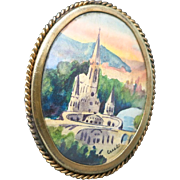 Lourdes Brooch Handpainted Antique Pin French