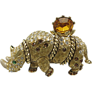 Rhinoceros Pin Gold tone Rhinestones Large St John