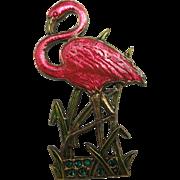 Flamingo pin Brass Rhinestones Pink Enamel
