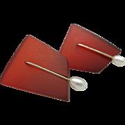Fresh water PEARL earrings Red resin Modern OOAK