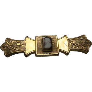Edwardian Cameo Pin Rolled GOLD Etched design