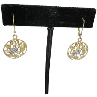Yellow GOLD earrings 14 Karat Pierced Filigree