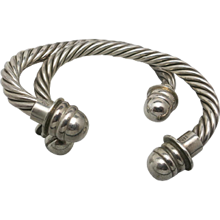 Sterling silver Cuffs Large Heavy Twisted Cable