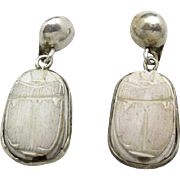 Scarab earrings Sterling silver faience WHite NOT BLUE