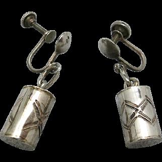 Drum earrings Native american Sterling silver Screw on